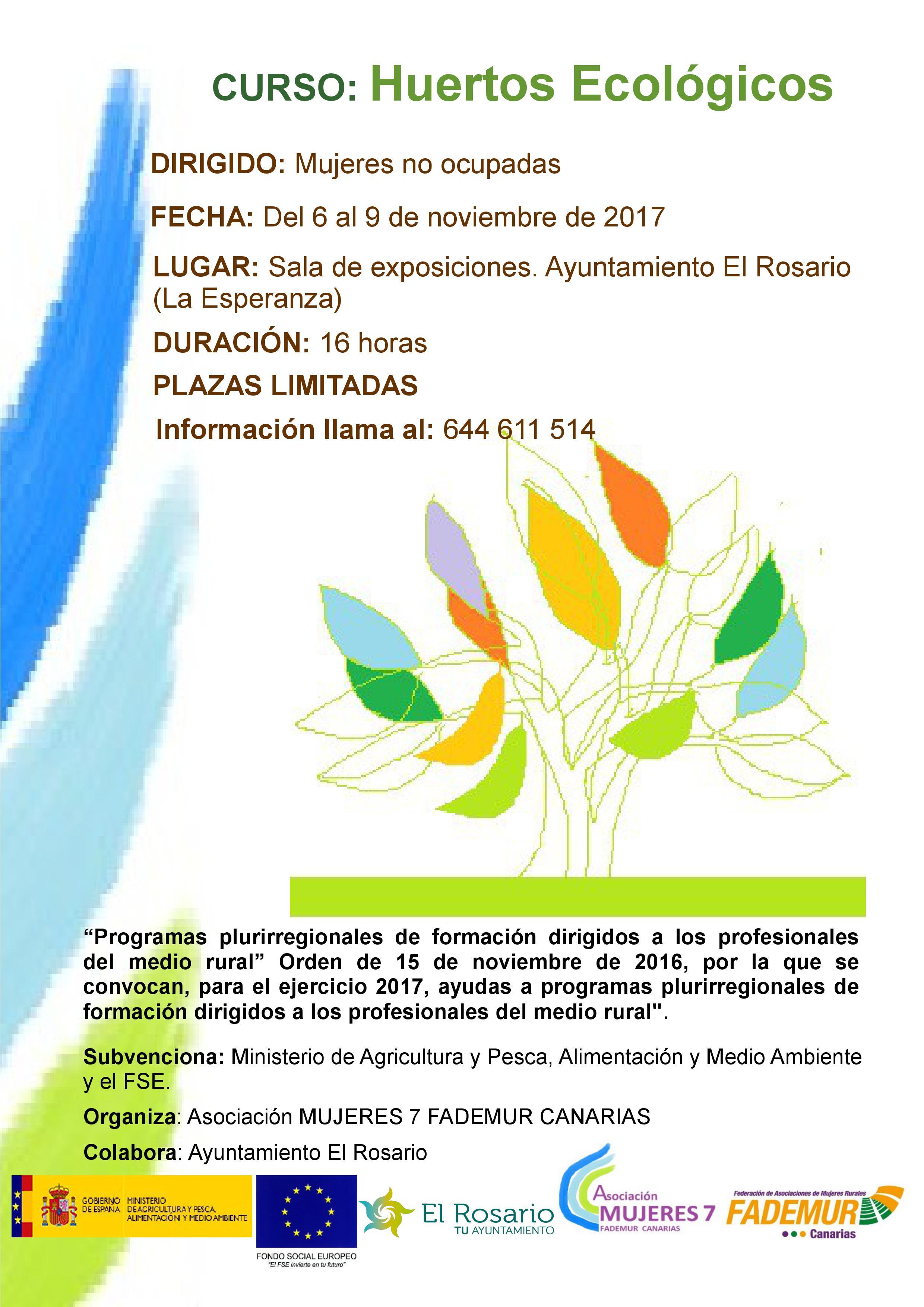 Cartel Curso Huertos Ecológicos-FADEMUR CANARIAS.