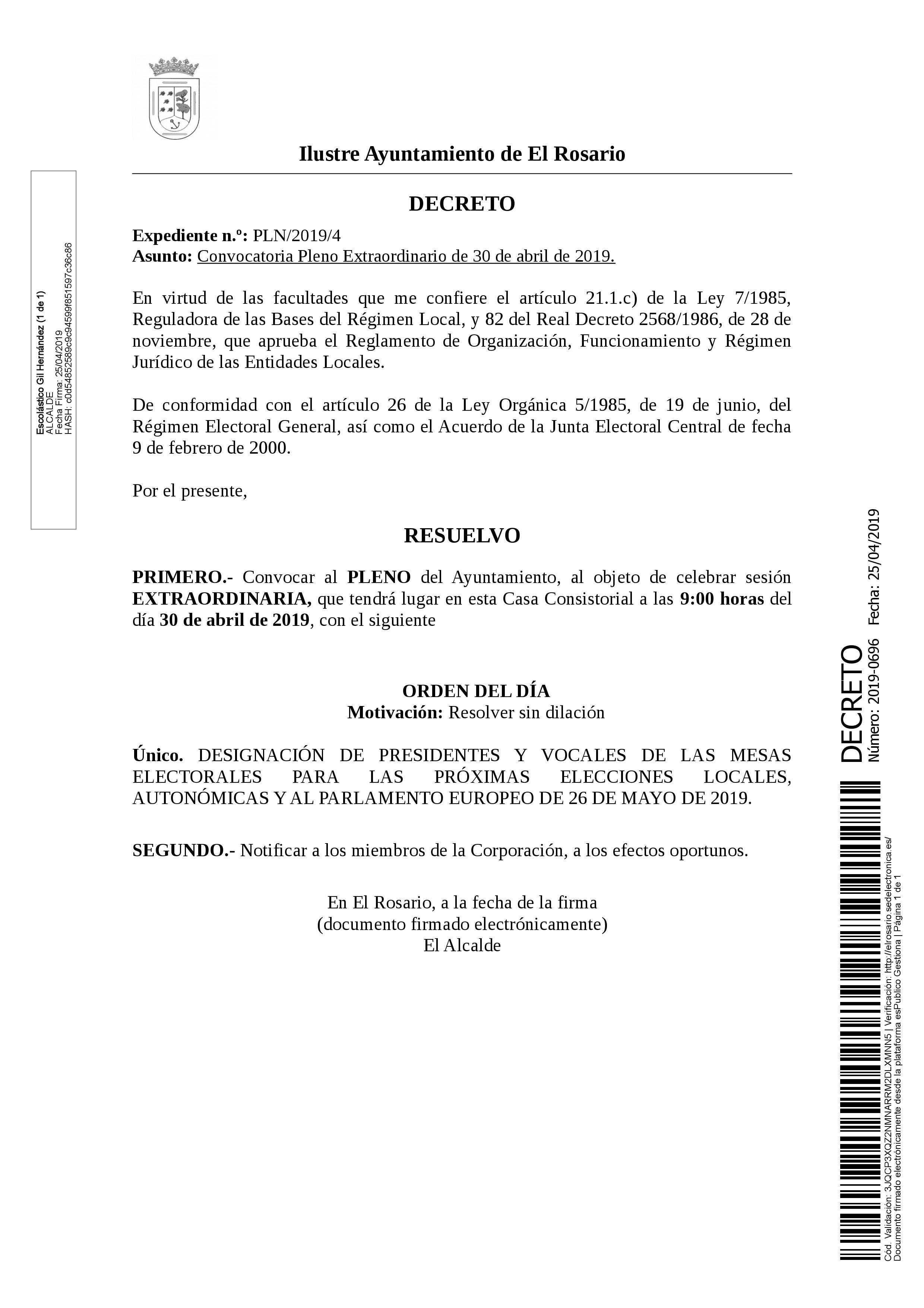 20190425_DECRETO 2019-0696 [Decreto Convocatoria de Pleno Extraordinario de 30 de abril de 2019]