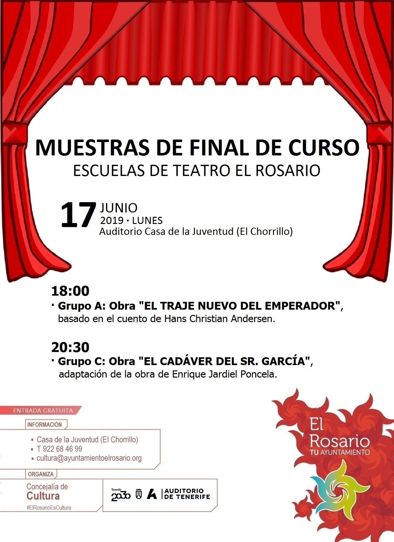 CARTEL MUESTRAS FINAL DE CURSO ESCUELAS DE TEATRO 2018.2019